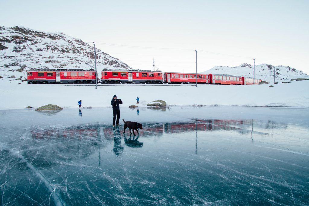 Perro labrador color chocolate con su amo en el hielo y de fondo un tren rojo